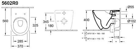 Комплект подвесного унитаза 560х375мм, Venticello, Villeroy&Boch