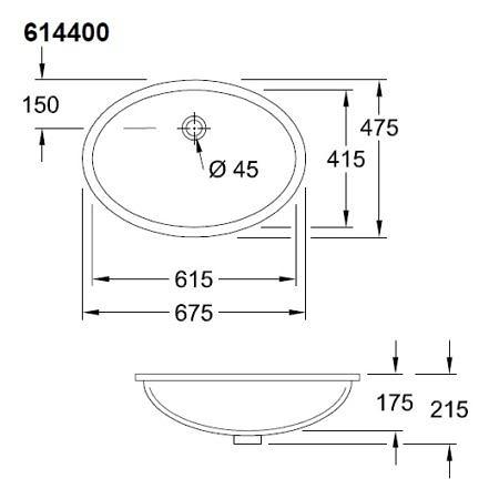 Раковина для установки под столешницу 615х415 мм, Evana, Villeroy & Boch
