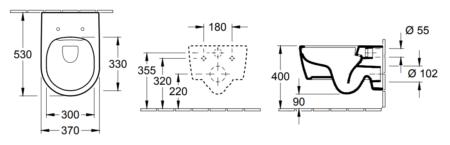 Комплект подвесного унитаза Villeroy & Boch Avento 530х370 мм