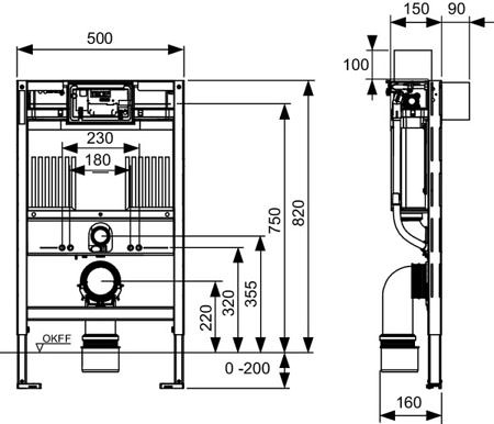 Система инсталляции TECEprofil со смывным бачком Uni