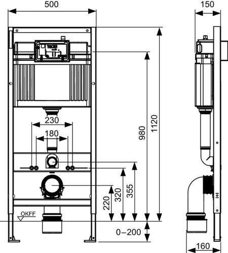 Система инсталляции для унитазов TECEbase + Панель смыва TECEambia