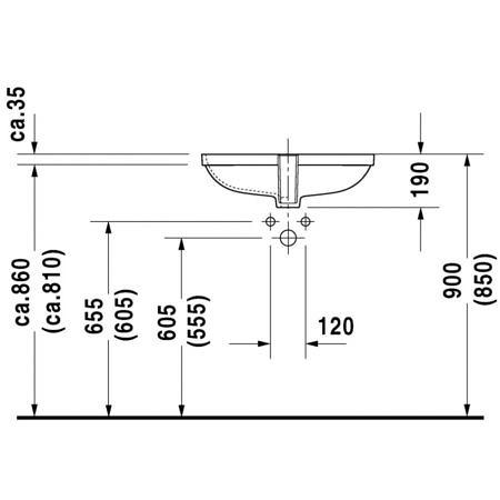 Раковина встраиваемая D-Code 560х400 мм под столешницу, с переливом Duravit