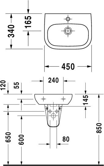 Раковина подвесн с переливом 600х460 мм, D-Code, с плоскостью под смеситель, глазурь снизу, Duravit