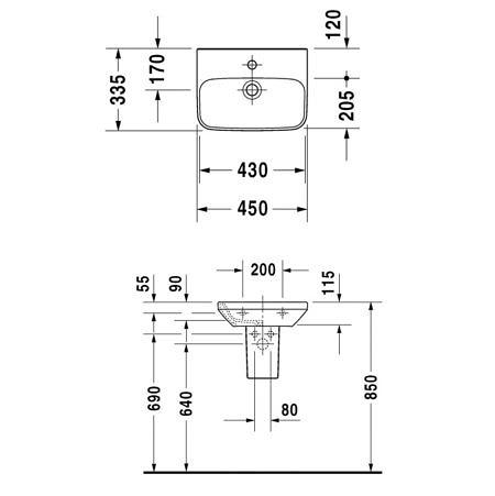 Раковина подвесная  450х335 мм без перелива, c отверстием под смеситель DuraStyle, Duravit