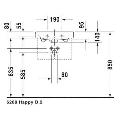 Раковина подвесная 500х360 мм, с переливом, с отверстием под смеситель Happy D.2, Duravit