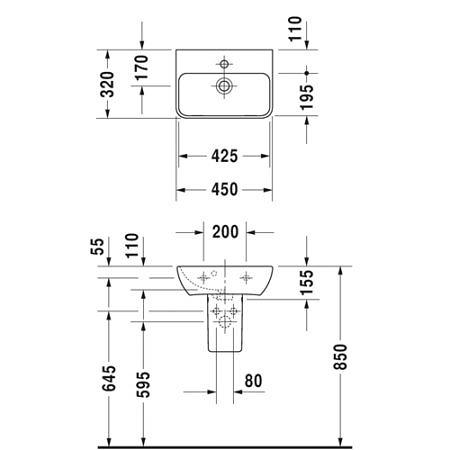 Раковина подвесная 450х320 мм с переливом, с отверстием под смеситель, ME by Starck, Duravit