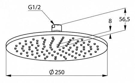 Верхний душ D-250мм, A-QA, Kludi