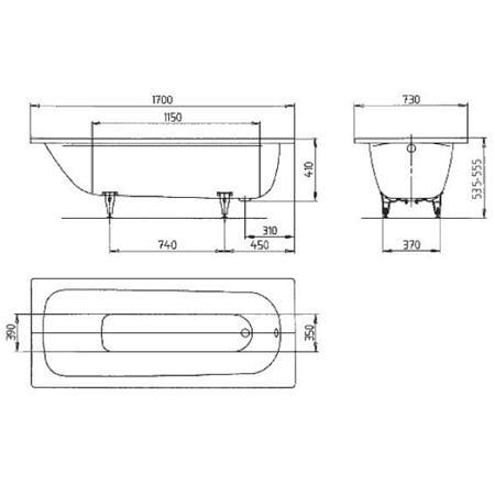 Ванна стальная 1700х700 мм, Saniform Plus Kaldewei