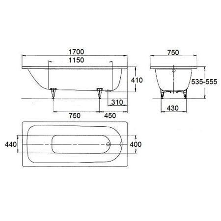 Ванна стальная 1700х750 мм, в комплекте с шумоизоляцией, Saniform Plus  Kaldewei