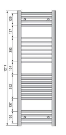 Полотенцесушитель 1217x500мм, по осям 456 мм, Aura, Zehnder.
