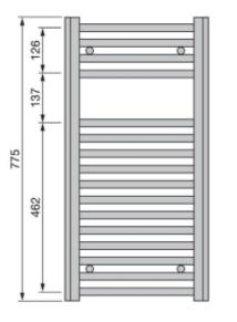 Полотенцесушитель 775x500 мм, по осям 456 мм, Aura, Zehnder.