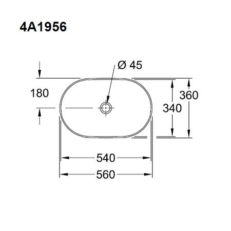 Раковина-чаша на столешницу 560х360 мм, Collaro, овальной формы, без перелива, Villeroy&Boch