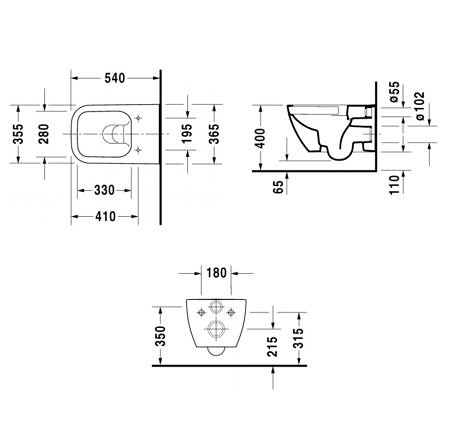 Унитаз подвесной Duravit Happy D.2 540х365 мм