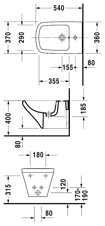 Биде подвесное DuraStyle 370x540 мм с отверстием под смеситель Duravit