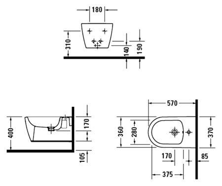 Биде подвесное ME by Starck 370х575 мм с отверстием под смеситель, вкл. крепление Durafix Duravit