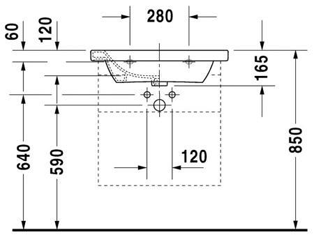 Раковина 800х480мм с отверстием под смеситель, DuraStyle, Duravit