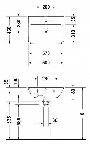 Раковина подвесная 600х460 мм с переливом, с отверстием под смеситель, глазуровка снизу ME by Starck