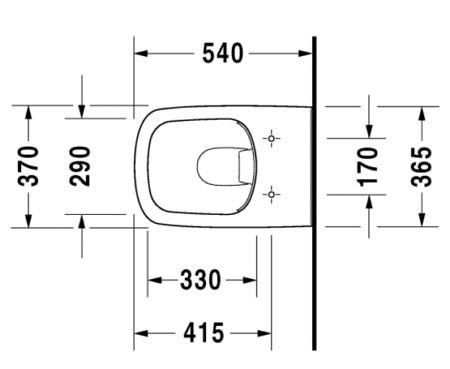 Унитаз подвесной DuraStyle Duravit Rimless® 370x540 мм, белый, открытые крепления