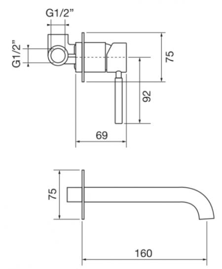 Смеситель встроенный для раковины, Forma2, Porta&Bini