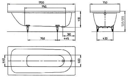 Ванна стальная 1700х750 мм Perl-Effekt, Saniform Plus Kaldewei