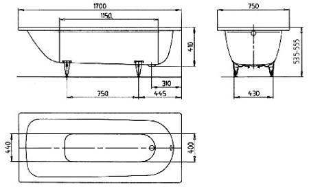 Ванна стальная 1700х750 мм Saniform Plus Kaldewei