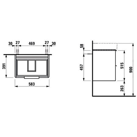 Шкаф под раковину 583х527х391 мм, Base (VAL), белый глянцевый, ящики с доводчиками, Laufen