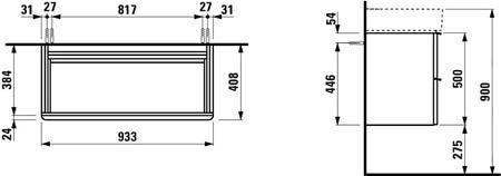 Шкаф подвесной 935x410х520 мм, Space, с двумя ящиками, белый мат , Laufen