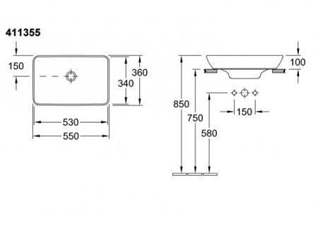 Раковина полувстраиваемая для установки на столешницу 550х360 мм, Villeroy&Boch