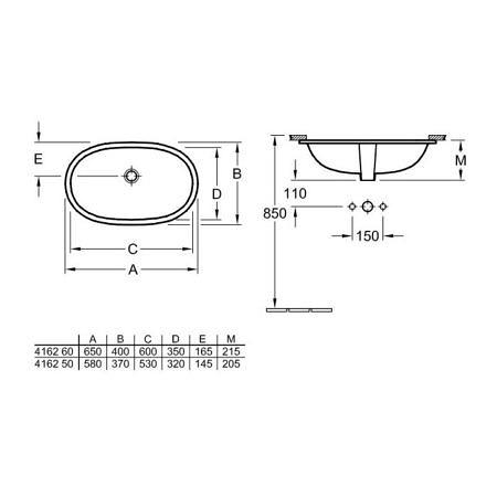 Раковина встраиваемая под столешницу 530х320 мм, O.Novo, Villeroy&Boch