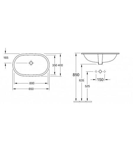 Раковина встраиваемая под столешницу 600х350 мм, O.Novo, Villeroy&Boch