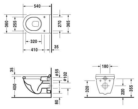 Комплект подвесного унитаза 540х360мм, Starck 3, Duravit