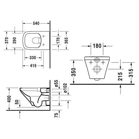 Унитаз подвесной DuraStyle Rimless в комплекте с крышкой SoftClose Duravit