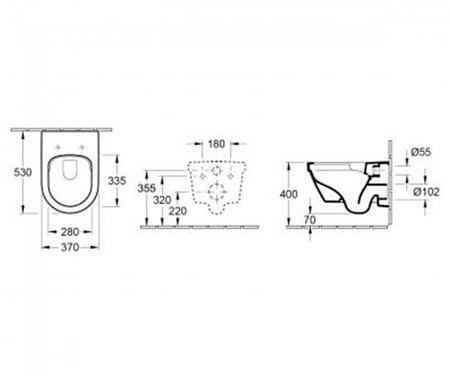 Комплект подвесного унитаза Villeroy&Boch Architеctura 530х370 мм