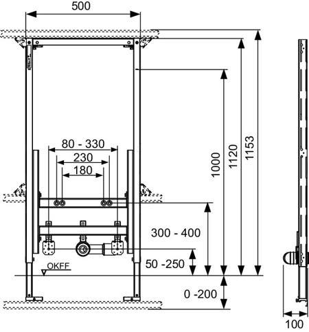 Модуль для биде, высота 1120 мм, TECEprofil