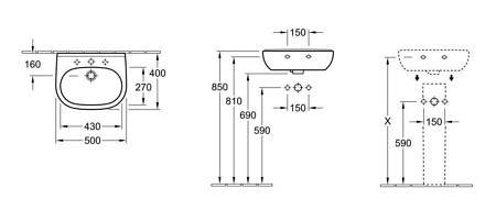 Раковина компактная подвесная 500х400 мм, O.Novo, Villeroy&Boch