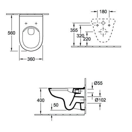 Комплект подвесного унитаза Villeroy&Boch O.Novo 360x560 мм
