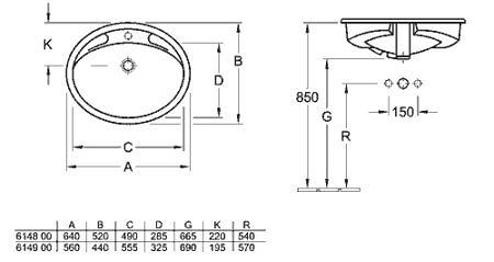 Раковина встраиваемая в столещницу 640х520 мм, Florine, Villeroy & Boch