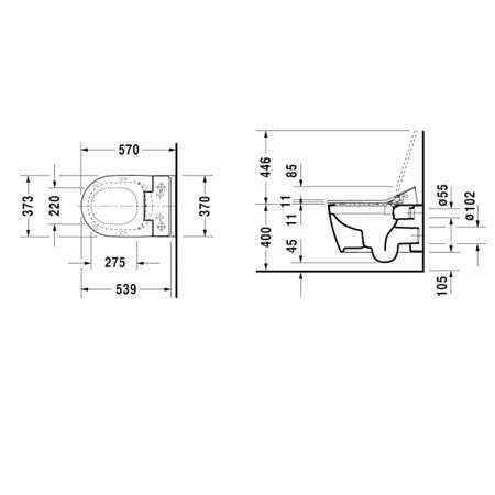 Унитаз подвесной с функцией биде Duravit МЕ by Starck Rimless SensoWash в комплекте с крышкой-биде SC