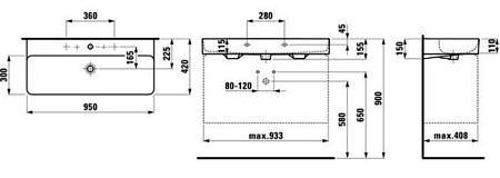 Раковина подвесная 950х420 мм, VAL, без перелива, SaphirKeramik, Laufen