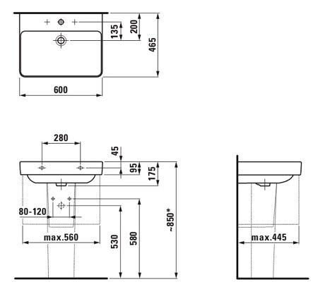 Раковина подвесная 600х465 мм, Pro S, с одним отверстием для смесителя, Laufen