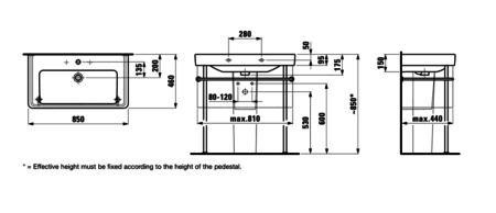 Раковина подвесная 850х460 мм, Pro S, с отверстием для смесителя, Laufen
