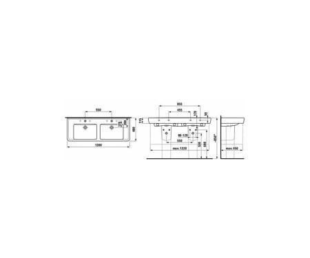 Раковина подвесная двойная 1300х480 мм, ProА, с тремя отверстиями для смесителей, Laufen
