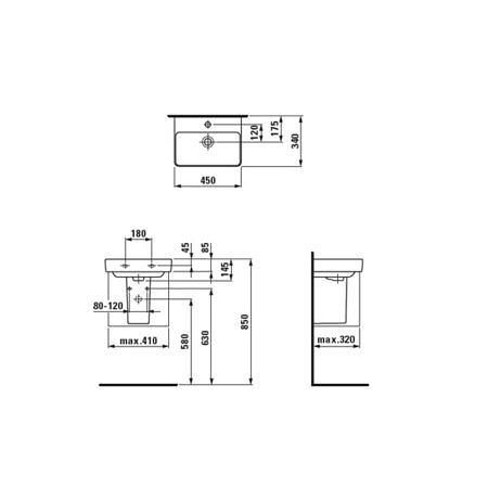 Раковина 450х340 мм Pro S c отверстием для смесителя, Laufen