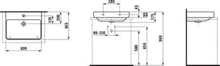 Раковина для установки на столешницу 600х465 мм, Pro S, Laufen