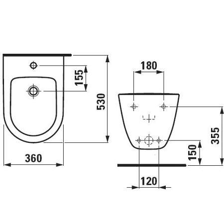 Биде подвесное со скрытым подключением с отверстием под смеситель  Pro New Laufen