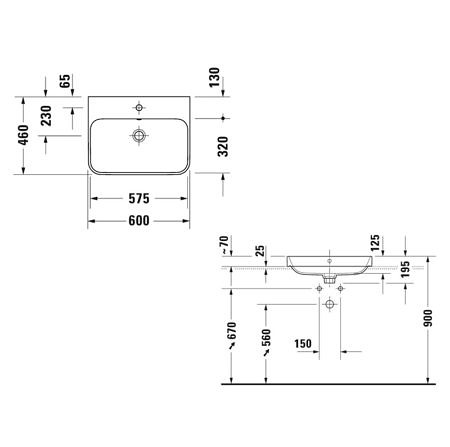 Раковина 600х460 мм Happy D.2 Plus Duravit