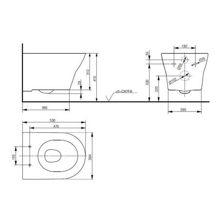 Комплект подвесного унитаза TOTO MH CW162Y 530х390 мм