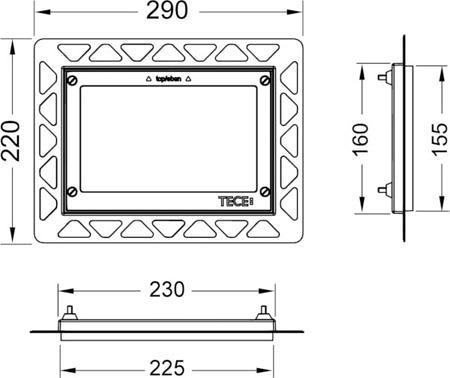 Монтажная рамка для монтажа на уровне стены.