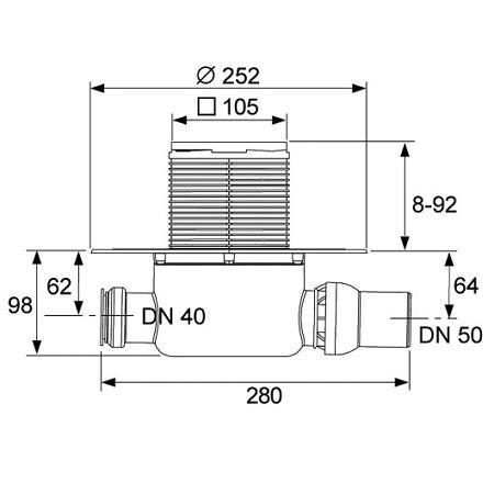 Трап горизонтальный TECEdrainpoint S120, TECE