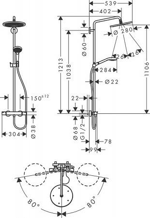 Душевая стойка Croma Select S с термостатом, Hansgrohe